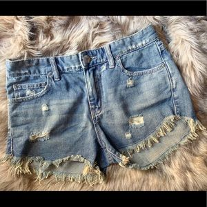 Free People Distressed Denim Shorts